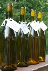 bottles of homemade apple wine